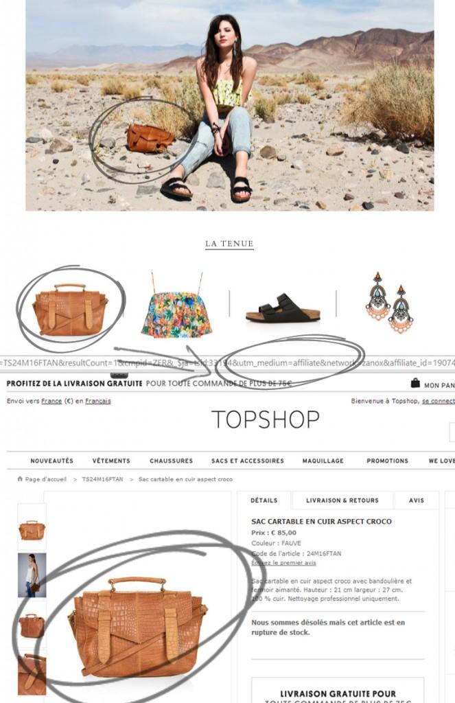 Un sac, un lien, un code d'affiliation. Exemple issu de www.leblogdebetty.com