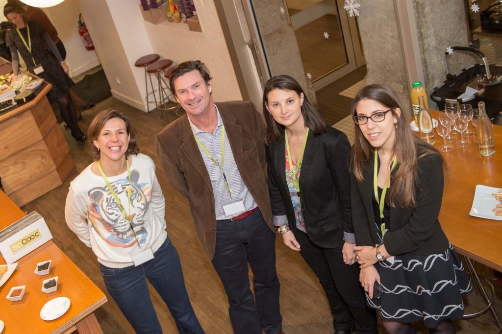 Le jury, de gauche à droite : Lucile de Traverse, représentant les votes du public, Nicolas Bergerault, Aurélie Collet, Justine from Justeunedose.fr